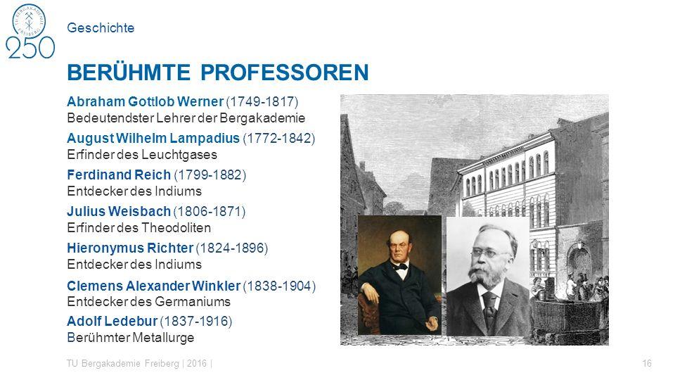 Geschichte TU Bergakademie Freiberg | 2016 | 16 BERÜHMTE PROFESSOREN Abraham Gottlob Werner (1749-1817) Bedeutendster Lehrer der Bergakademie August W