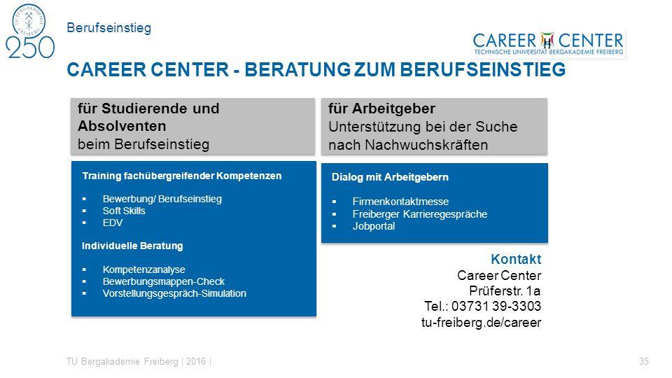 Berufseinstieg TU Bergakademie Freiberg | 2016 | 35 CAREER CENTER - BERATUNG ZUM BERUFSEINSTIEG für Studierende und Absolventen beim Berufseinstieg fü
