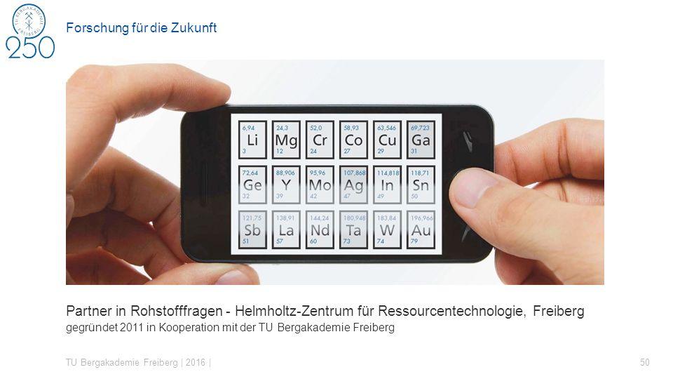 Partner in Rohstofffragen - Helmholtz-Zentrum für Ressourcentechnologie, Freiberg gegründet 2011 in Kooperation mit der TU Bergakademie Freiberg TU Bergakademie Freiberg | 2016 | 50 Forschung für die Zukunft