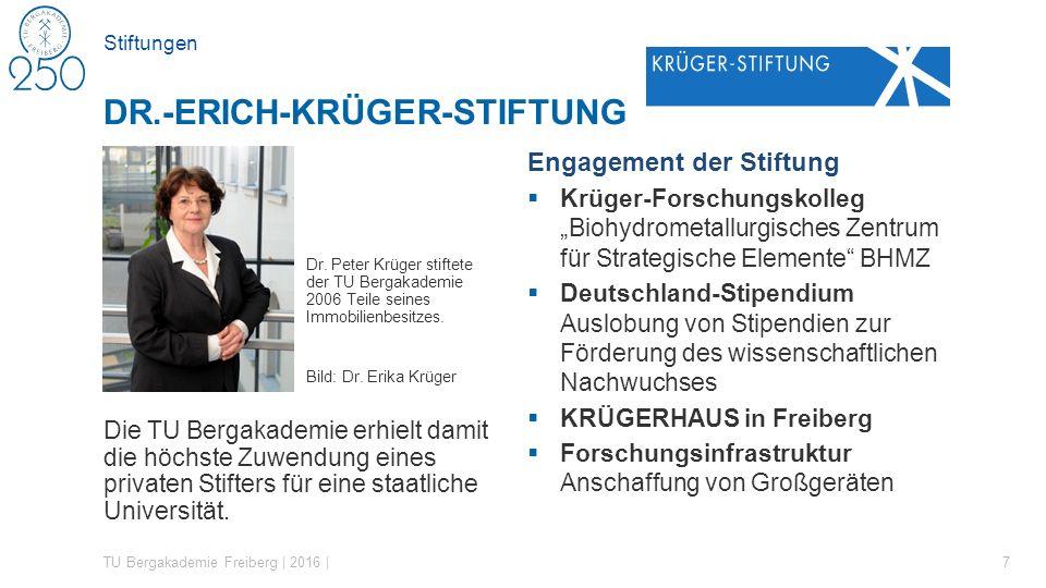 Stiftungen Dr. Peter Krüger stiftete der TU Bergakademie 2006 Teile seines Immobilienbesitzes. Bild: Dr. Erika Krüger Die TU Bergakademie erhielt dami