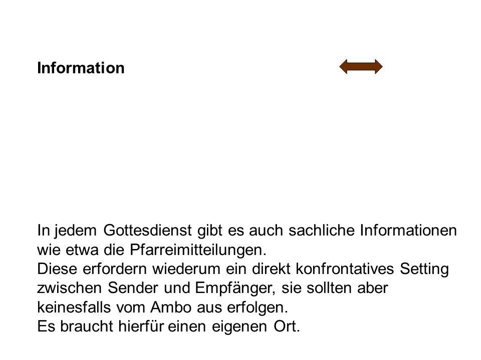 Information In jedem Gottesdienst gibt es auch sachliche Informationen wie etwa die Pfarreimitteilungen.