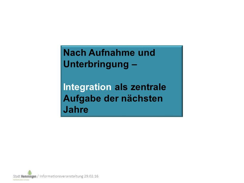 Nach Aufnahme und Unterbringung – Integration als zentrale Aufgabe der nächsten Jahre / Informationsveranstaltung 29.02.16