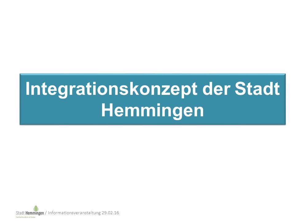 Integrationskonzept der Stadt Hemmingen / Informationsveranstaltung 29.02.16