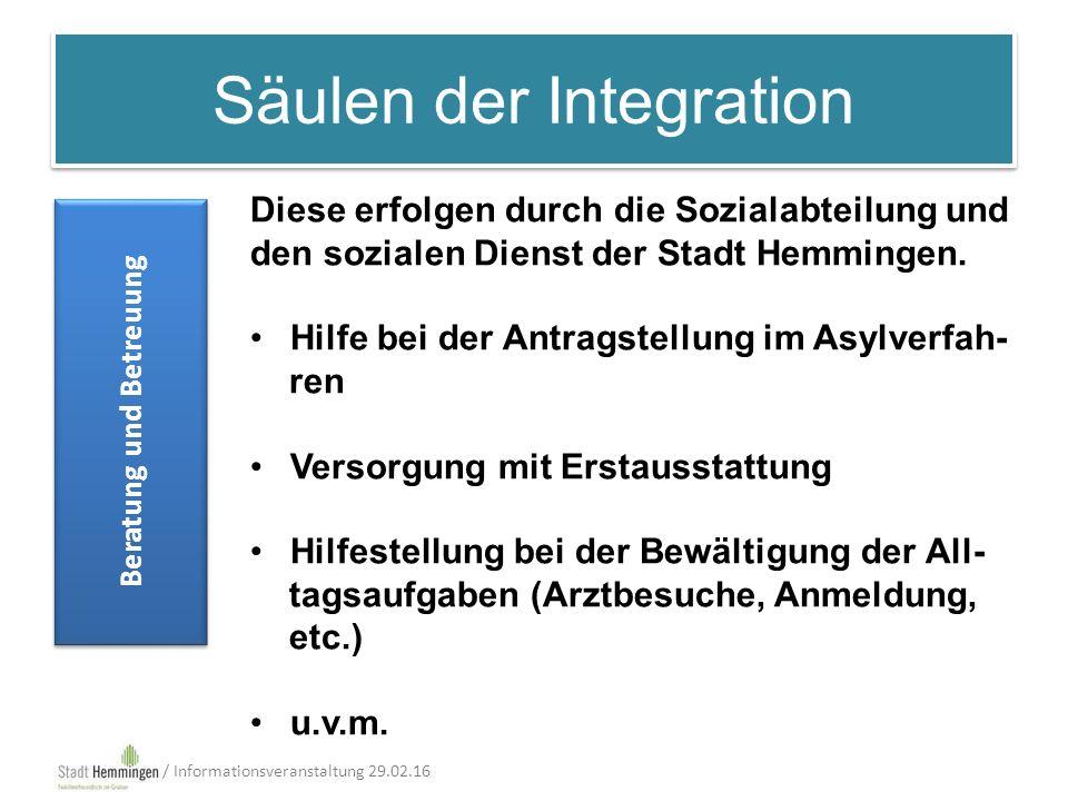 Säulen der Integration Beratung und Betreuung / Informationsveranstaltung 29.02.16 Diese erfolgen durch die Sozialabteilung und den sozialen Dienst der Stadt Hemmingen.