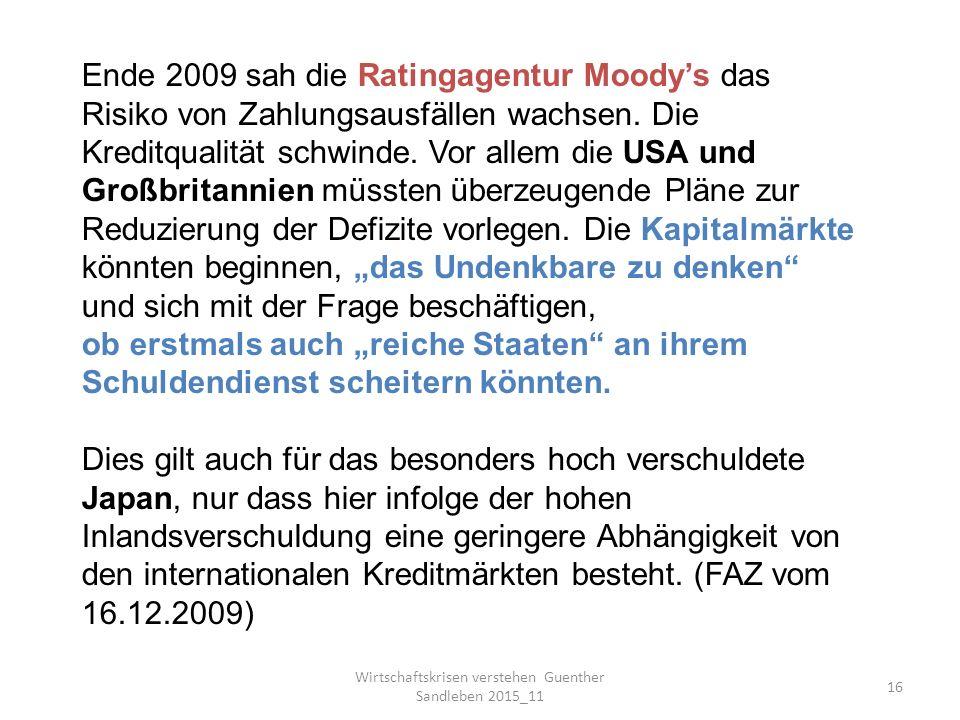 Wirtschaftskrisen verstehen Guenther Sandleben 2015_11 16 Ende 2009 sah die Ratingagentur Moody's das Risiko von Zahlungsausfällen wachsen.