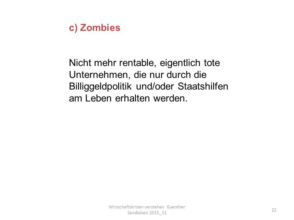 Wirtschaftskrisen verstehen Guenther Sandleben 2015_11 22 c) Zombies Nicht mehr rentable, eigentlich tote Unternehmen, die nur durch die Billiggeldpolitik und/oder Staatshilfen am Leben erhalten werden.