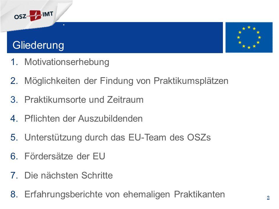 + Gliederung 1.Motivationserhebung 2.Möglichkeiten der Findung von Praktikumsplätzen 3.Praktikumsorte und Zeitraum 4.Pflichten der Auszubildenden 5.Unterstützung durch das EU-Team des OSZs 6.Fördersätze der EU 7.Die nächsten Schritte 8.Erfahrungsberichte von ehemaligen Praktikanten  2