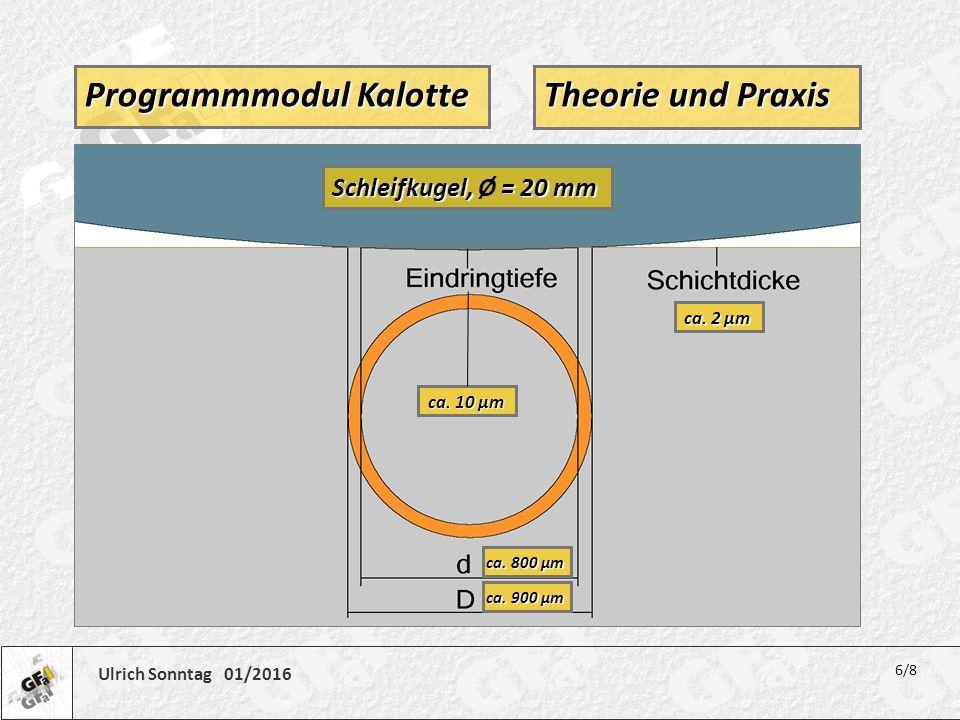 Ulrich Sonntag 01/2016 Theorie und Praxis 6/8 Programmmodul Kalotte Schleifkugel, = 20 mm Schleifkugel, Ø = 20 mm ca. 2 µm ca. 10 µm ca. 800 µm ca. 90