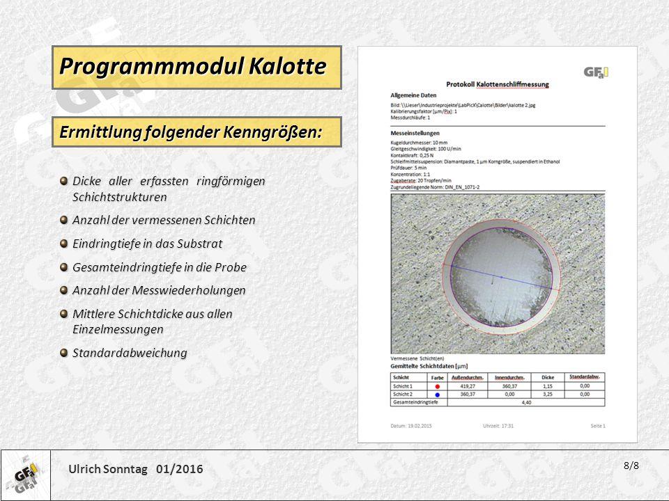 Ulrich Sonntag 01/2016 Dicke aller erfassten ringförmigen Schichtstrukturen Anzahl der vermessenen Schichten Eindringtiefe in das Substrat Gesamteindr