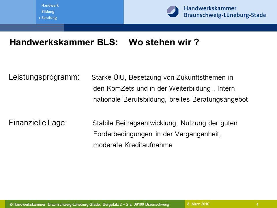 © Handwerkskammer Braunschweig-Lüneburg-Stade, Burgplatz 2 + 2 a, 38100 Braunschweig Handwerkskammer BLS: Wo stehen wir .