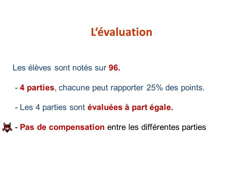 Les élèves sont notés sur 96. - 4 parties, chacune peut rapporter 25% des points. - Les 4 parties sont évaluées à part égale. - Pas de compensation en