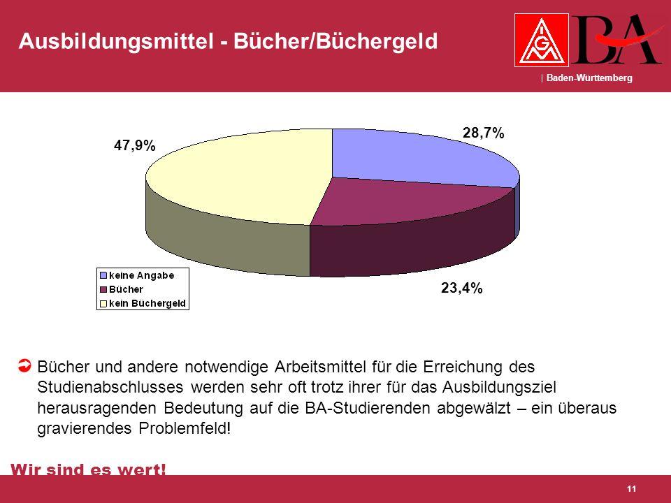 Baden-Württemberg Wir sind es wert! 11 Ausbildungsmittel - Bücher/Büchergeld Bücher und andere notwendige Arbeitsmittel für die Erreichung des Studien