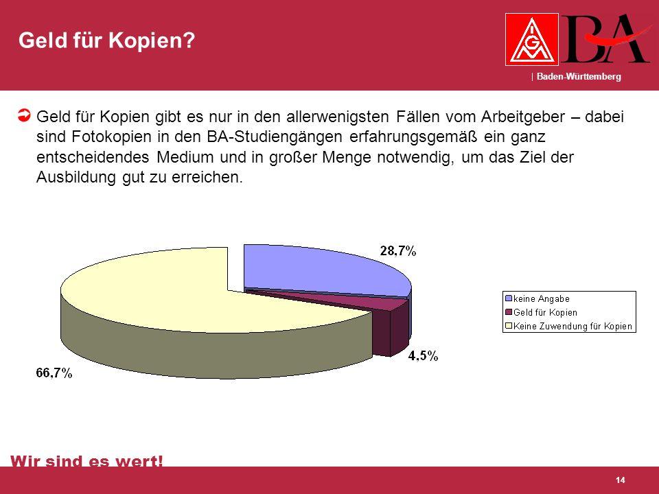 Baden-Württemberg Wir sind es wert! 14 Geld für Kopien? Geld für Kopien gibt es nur in den allerwenigsten Fällen vom Arbeitgeber – dabei sind Fotokopi