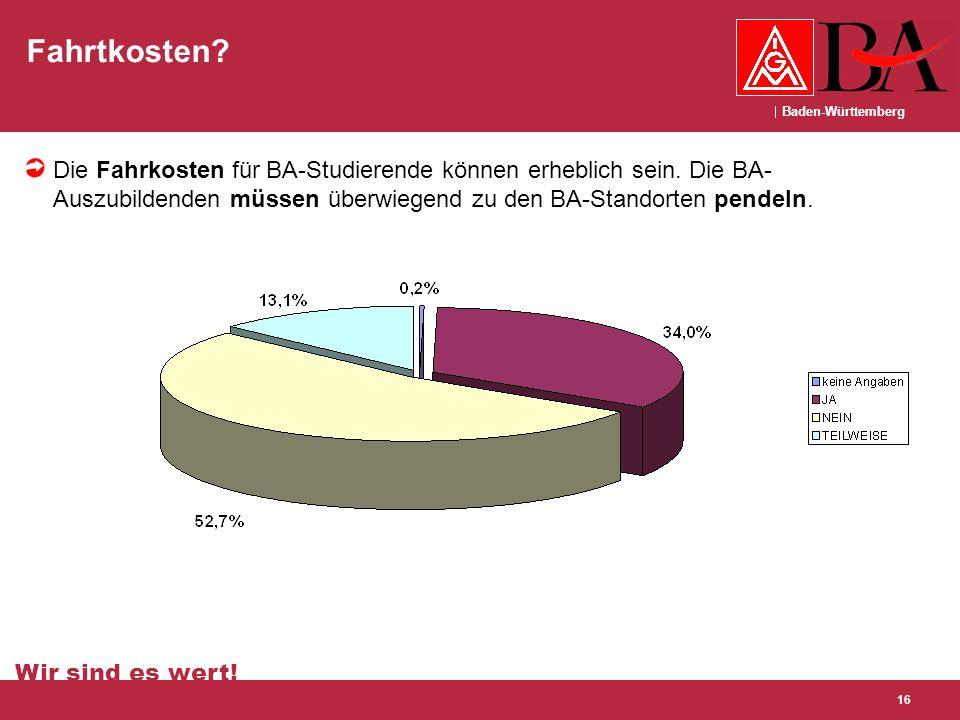 Baden-Württemberg Wir sind es wert! 16 Fahrtkosten? Die Fahrkosten für BA-Studierende können erheblich sein. Die BA- Auszubildenden müssen überwiegend