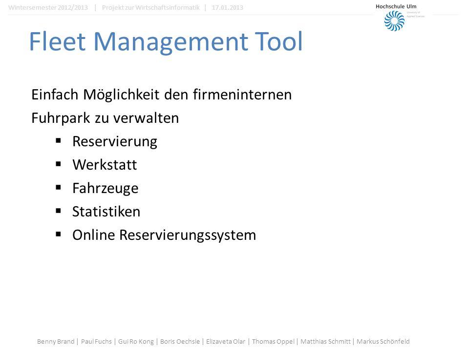 Controller befüllen //Werkstatt Combobox in Bearbeitenframe befüllen public void fahrzeugBearbeiten() { FahrzeugBearbeiten fb = FahrzeugBearbeiten.getInstance(); fb.get_Werk().removeAllItems(); for(int i =0;i<werkstattarray.size();i++){ fb.get_Werk().addItem(werkstattarray.get(i).getName()); } Benny Brand   Paul Fuchs   Gui Ro Kong   Boris Oechsle   Elizaveta Olar   Thomas Oppel   Matthias Schmitt   Markus Schönfeld Wintersemester 2012/2013   Projekt zur Wirtschaftsinformatik   17.01.2013