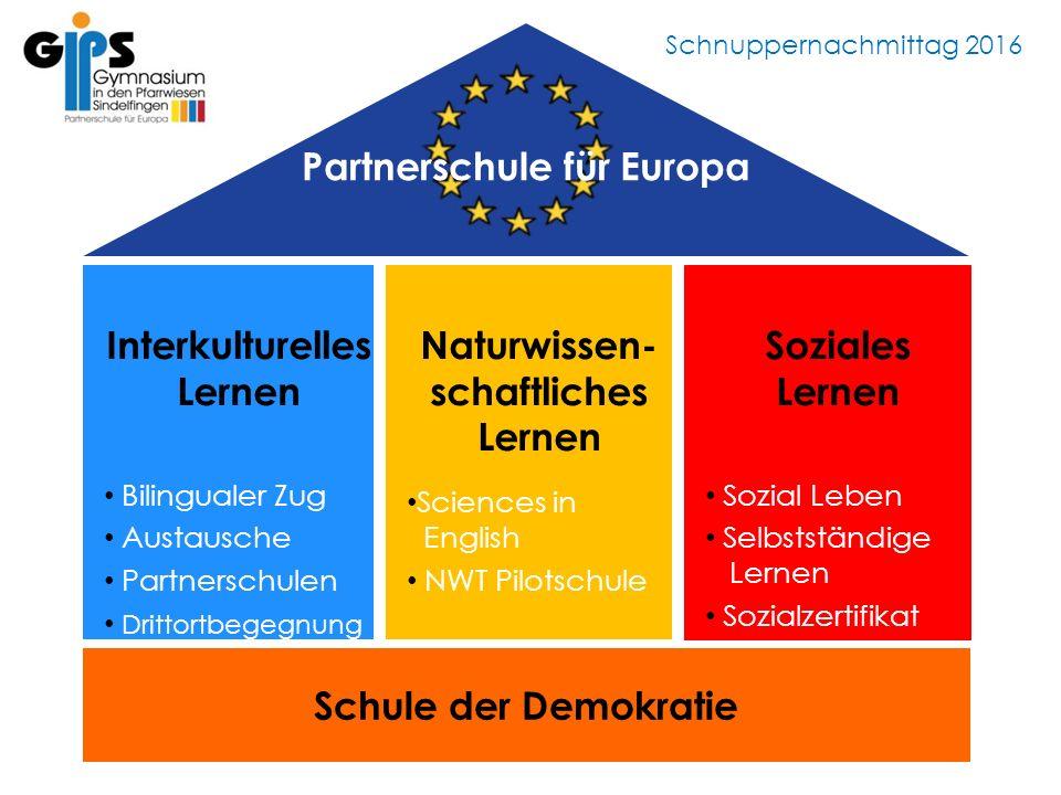Schnuppernachmittag 2016 Interkulturelles Lernen Bilingualer Zug Austausche Partnerschulen Drittortbegegnung DDrittortbegegnung Naturwissen- schaftlic