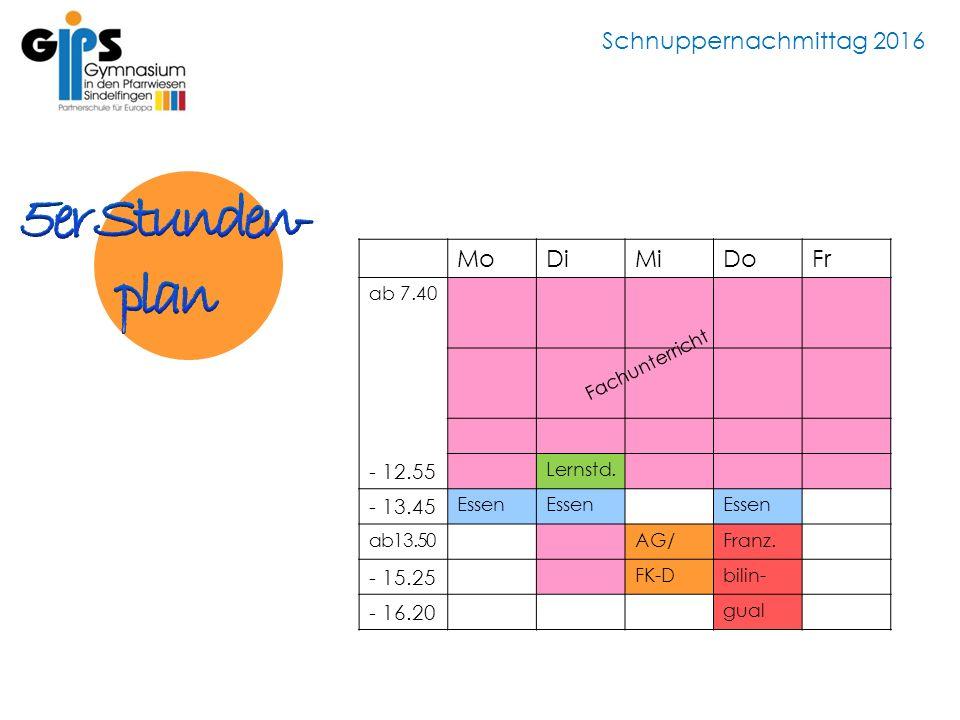 Schnuppernachmittag 2016 MoDiMiDoFr ab 7.40 - 12.55 Lernstd. - 13.45 Essen ab13.50AG/Franz. - 15.25 FK-Dbilin- - 16.20 gual Fachunterricht