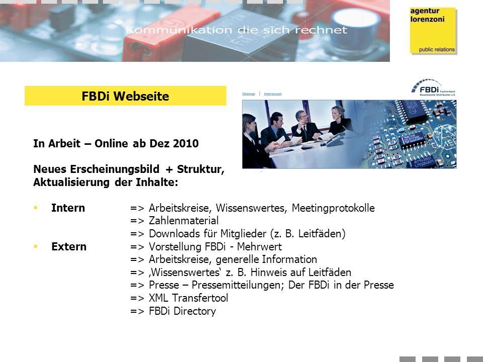 In Arbeit – Online ab Dez 2010 Neues Erscheinungsbild + Struktur, Aktualisierung der Inhalte:  Intern => Arbeitskreise, Wissenswertes, Meetingprotokolle => Zahlenmaterial => Downloads für Mitglieder (z.