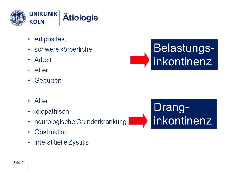 Seite 21 Ätiologie Adipositas, schwere körperliche Arbeit Alter Geburten Alter idiopathisch neurologische Grunderkrankung Obstruktion interstitielle Z