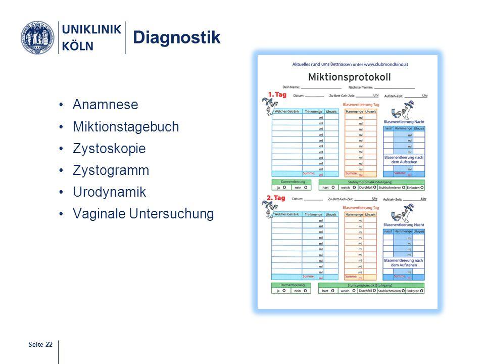 Seite 22 Diagnostik Anamnese Miktionstagebuch Zystoskopie Zystogramm Urodynamik Vaginale Untersuchung