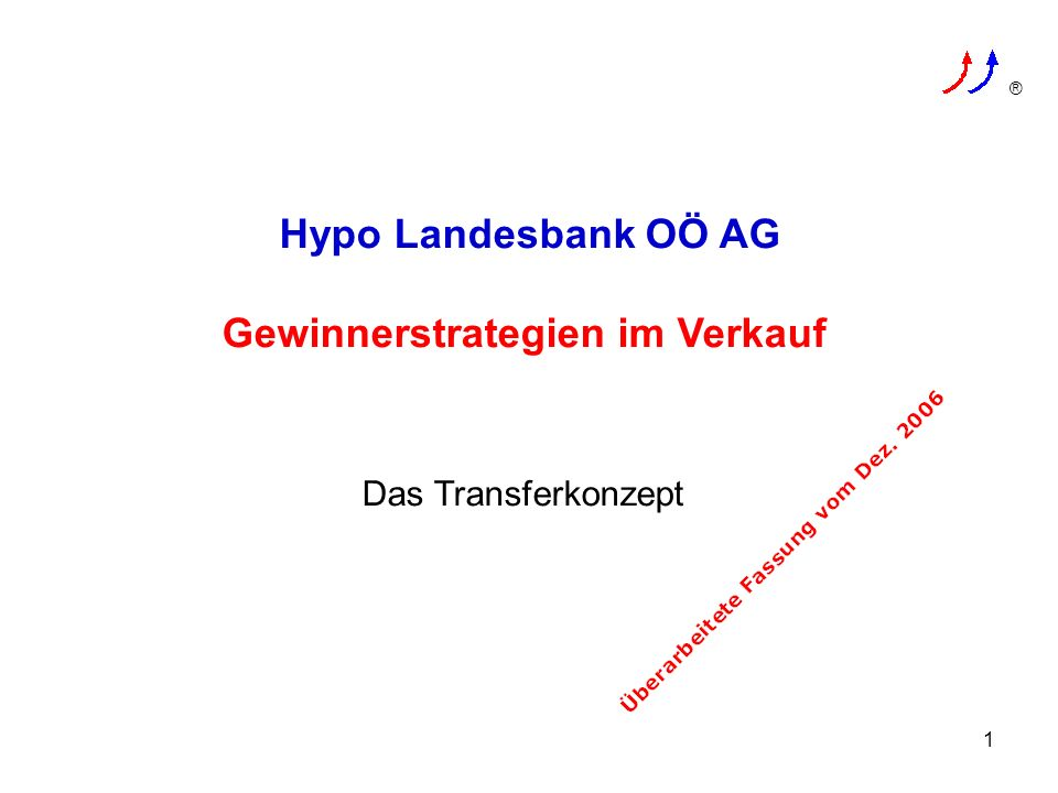 1 ® Hypo Landesbank OÖ AG Gewinnerstrategien im Verkauf Das Transferkonzept