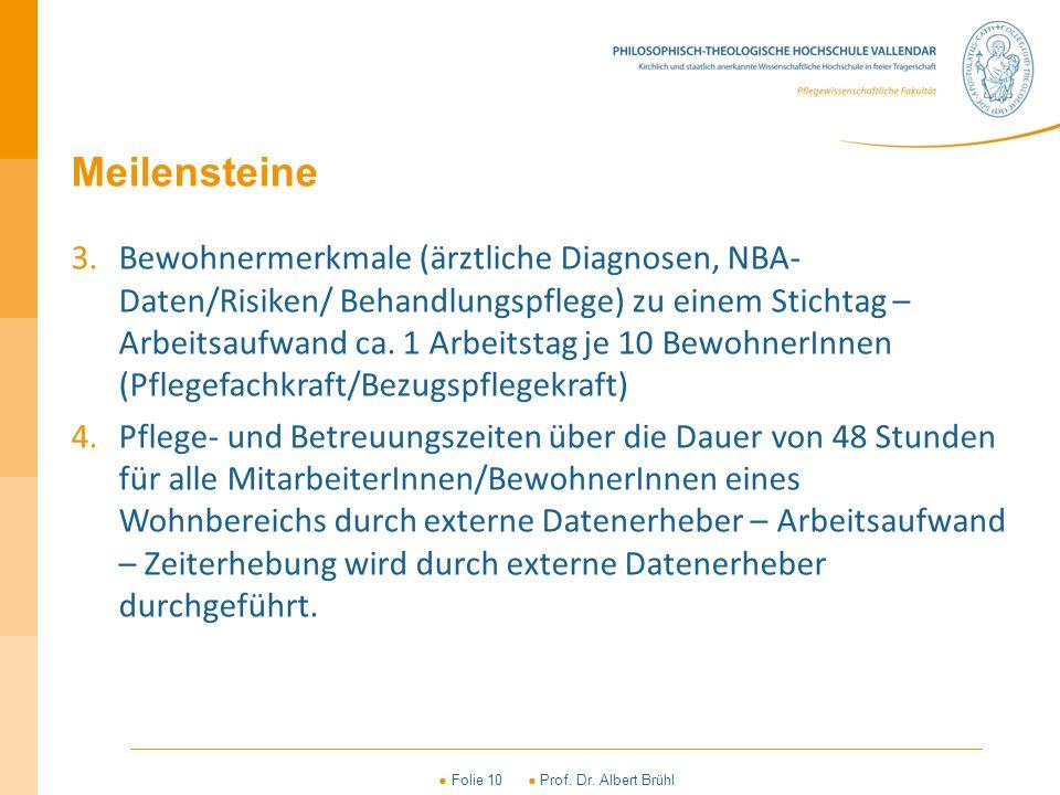 ● Folie 10 ● Prof. Dr. Albert Brühl Meilensteine 3.Bewohnermerkmale (ärztliche Diagnosen, NBA- Daten/Risiken/ Behandlungspflege) zu einem Stichtag – A