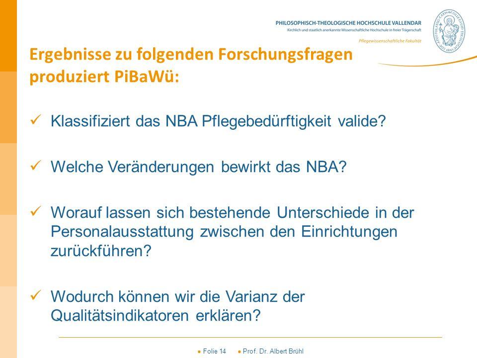 ● Folie 14 ● Prof. Dr. Albert Brühl Ergebnisse zu folgenden Forschungsfragen produziert PiBaWü: Klassifiziert das NBA Pflegebedürftigkeit valide? Welc