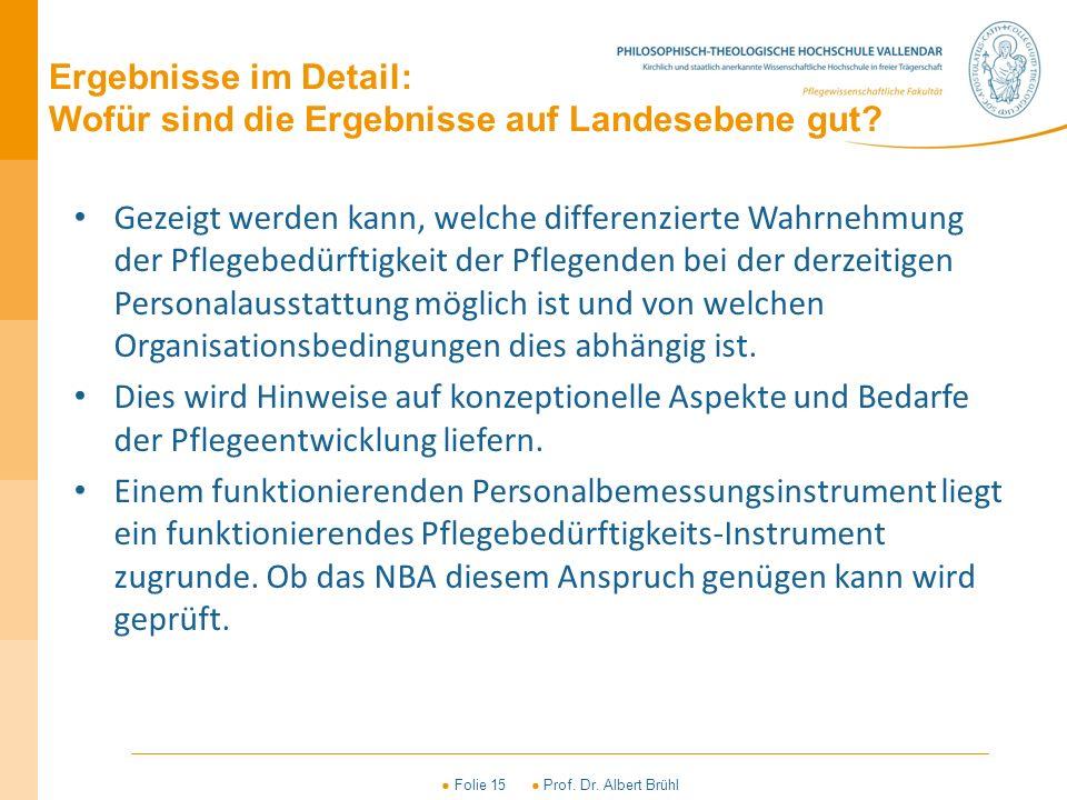 ● Folie 15 ● Prof. Dr. Albert Brühl Ergebnisse im Detail: Wofür sind die Ergebnisse auf Landesebene gut? Gezeigt werden kann, welche differenzierte Wa