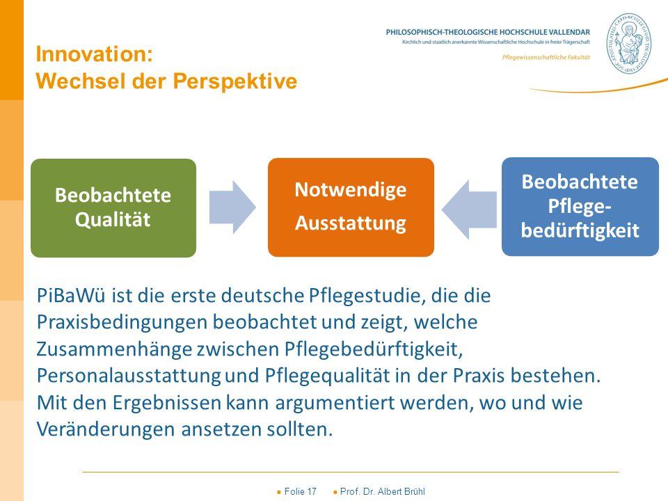 ● Folie 17 ● Prof. Dr. Albert Brühl Beobachtete Qualität Notwendige Ausstattung Beobachtete Pflege- bedürftigkeit Innovation: Wechsel der Perspektive