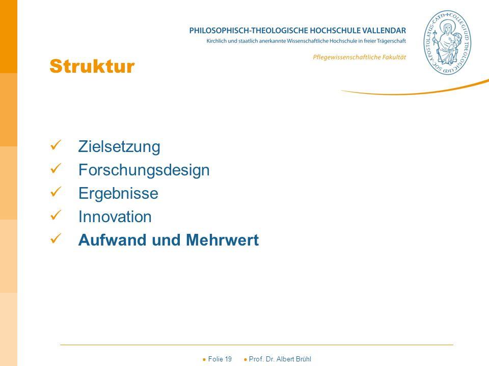 ● Folie 19 ● Prof. Dr. Albert Brühl Struktur Zielsetzung Forschungsdesign Ergebnisse Innovation Aufwand und Mehrwert