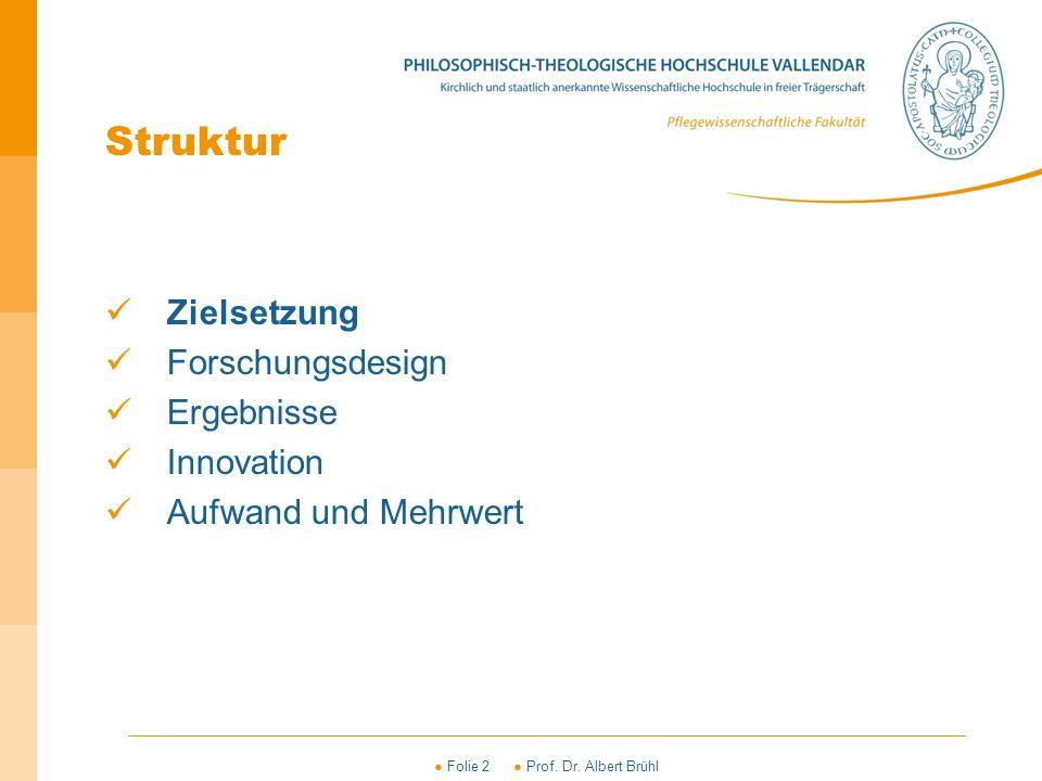 ● Folie 2 ● Prof. Dr. Albert Brühl Struktur Zielsetzung Forschungsdesign Ergebnisse Innovation Aufwand und Mehrwert