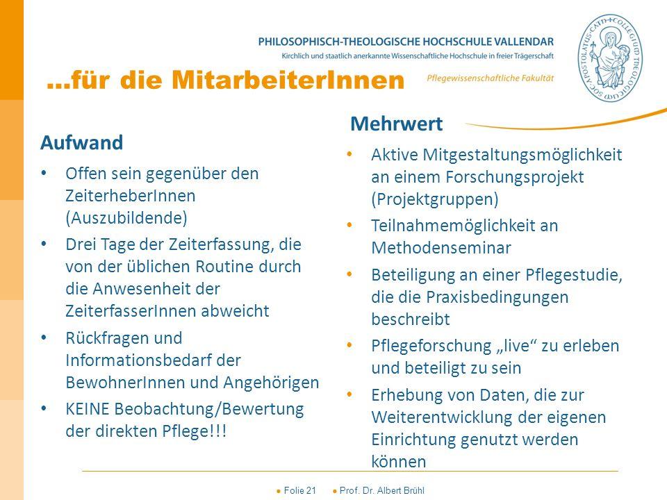 ● Folie 21 ● Prof. Dr. Albert Brühl...für die MitarbeiterInnen Aufwand Offen sein gegenüber den ZeiterheberInnen (Auszubildende) Drei Tage der Zeiterf