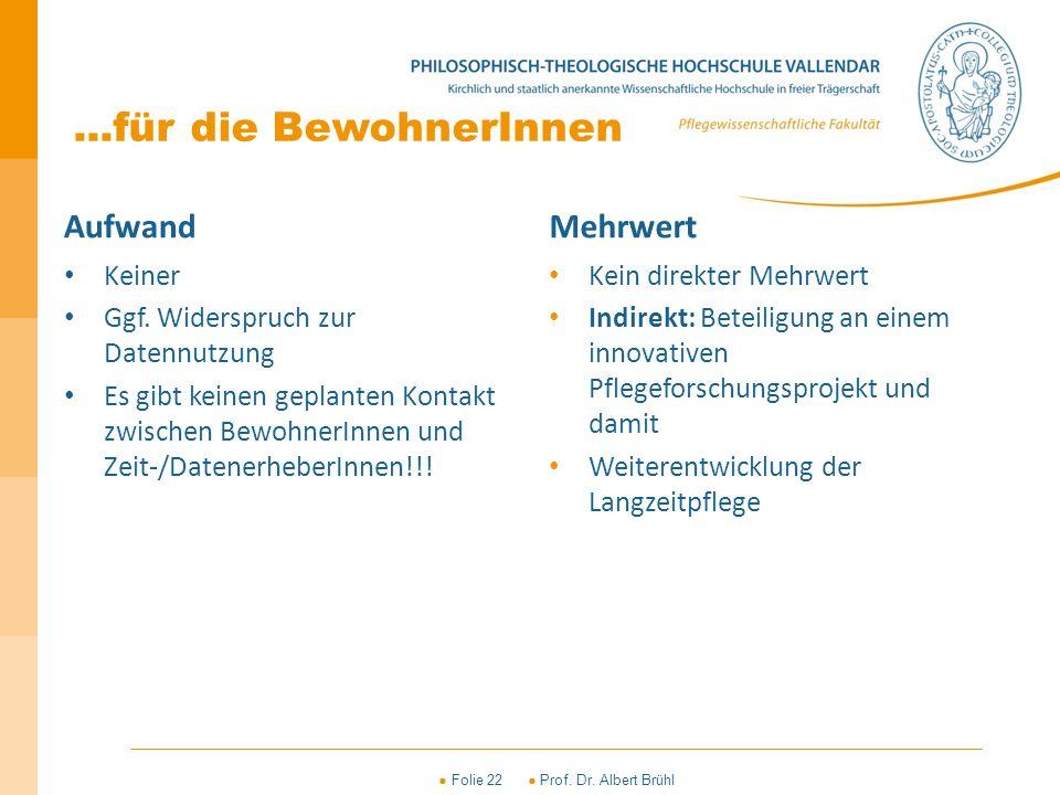 ● Folie 22 ● Prof. Dr. Albert Brühl...für die BewohnerInnen Aufwand Keiner Ggf. Widerspruch zur Datennutzung Es gibt keinen geplanten Kontakt zwischen