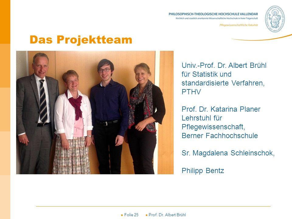 ● Folie 25 ● Prof. Dr. Albert Brühl Univ.-Prof. Dr. Albert Brühl für Statistik und standardisierte Verfahren, PTHV Prof. Dr. Katarina Planer Lehrstuhl