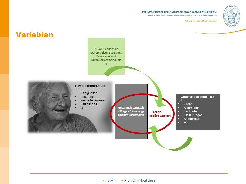 ● Folie 4 ● Prof. Dr. Albert Brühl Betriebsaufwand Bewohnermerkmale z. B. Fähigkeiten Diagnosen Verhaltensweisen Pflegestufe etc. Organisationsmerkmal