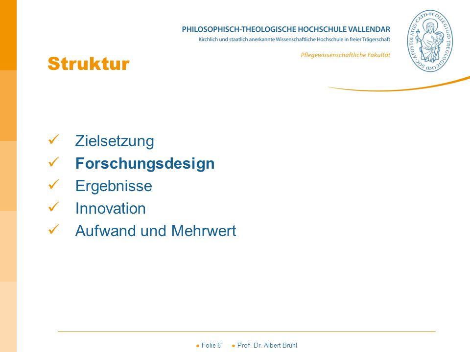 ● Folie 6 ● Prof. Dr. Albert Brühl Struktur Zielsetzung Forschungsdesign Ergebnisse Innovation Aufwand und Mehrwert