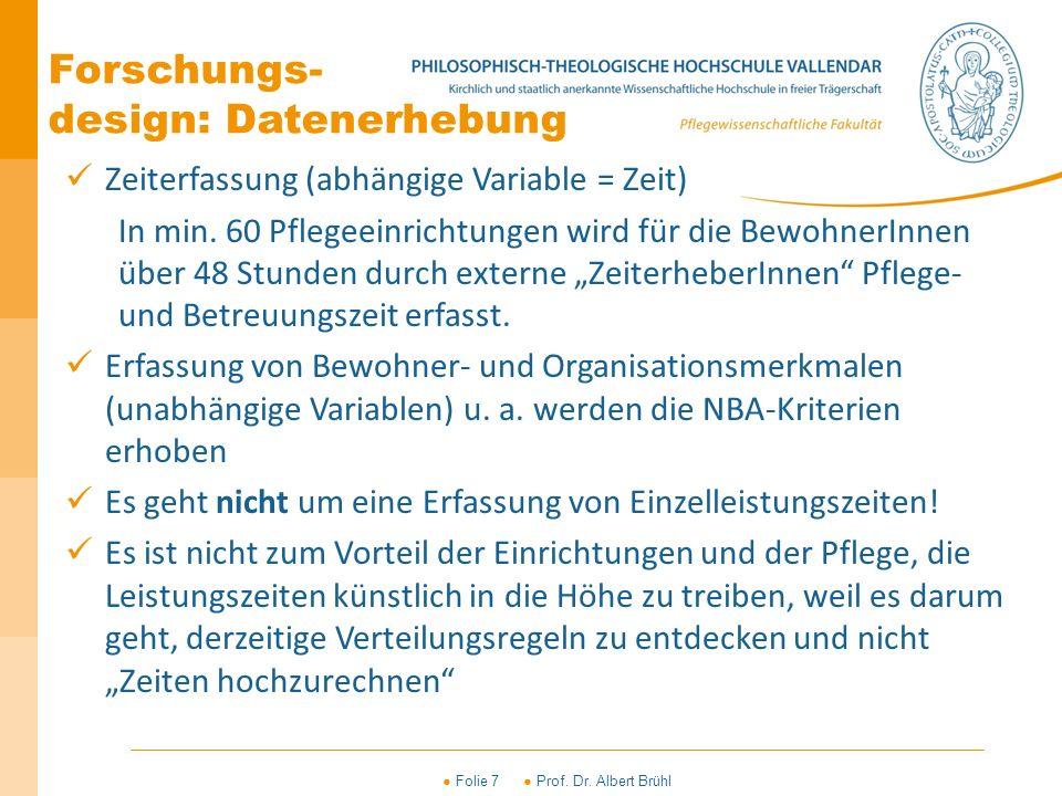 ● Folie 7 ● Prof. Dr. Albert Brühl Zeiterfassung (abhängige Variable = Zeit) In min. 60 Pflegeeinrichtungen wird für die BewohnerInnen über 48 Stunden