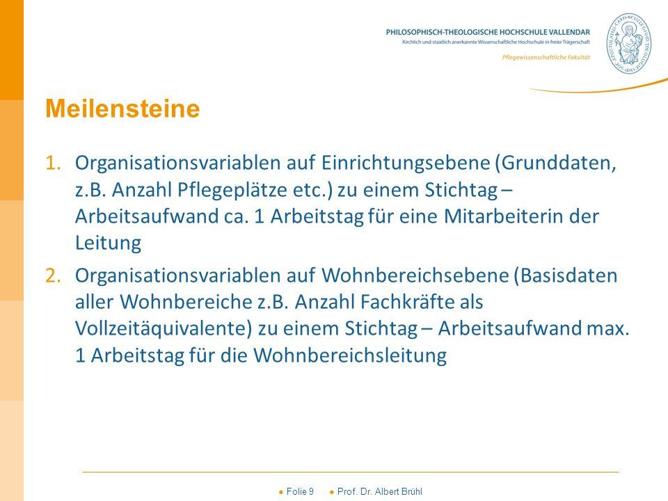 ● Folie 9 ● Prof. Dr. Albert Brühl Meilensteine 1.Organisationsvariablen auf Einrichtungsebene (Grunddaten, z.B. Anzahl Pflegeplätze etc.) zu einem St