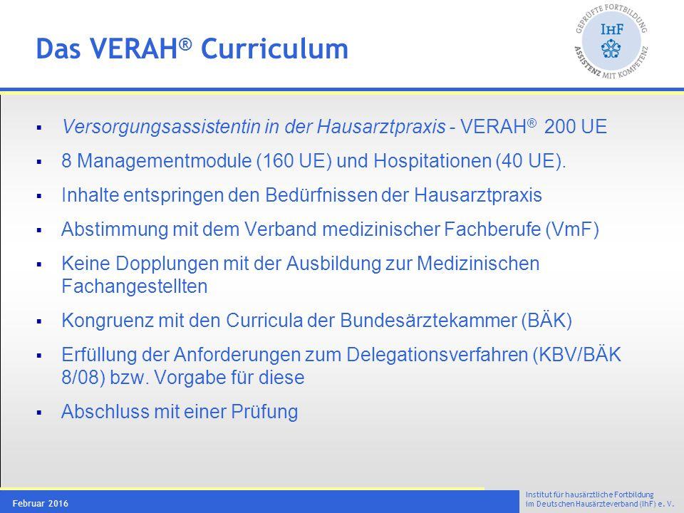 Institut für hausärztliche Fortbildung im Deutschen Hausärzteverband (IhF) e. V. Februar 2016 Das VERAH ® Curriculum  Versorgungsassistentin in der H