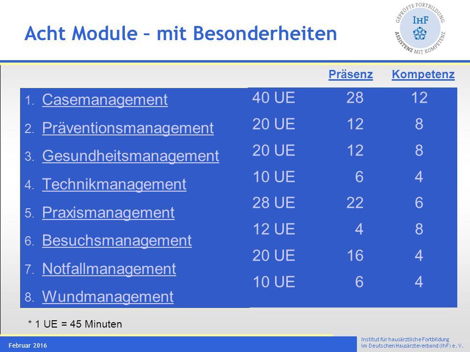 Institut für hausärztliche Fortbildung im Deutschen Hausärzteverband (IhF) e. V. Februar 2016 Acht Module – mit Besonderheiten 1. Casemanagement Casem