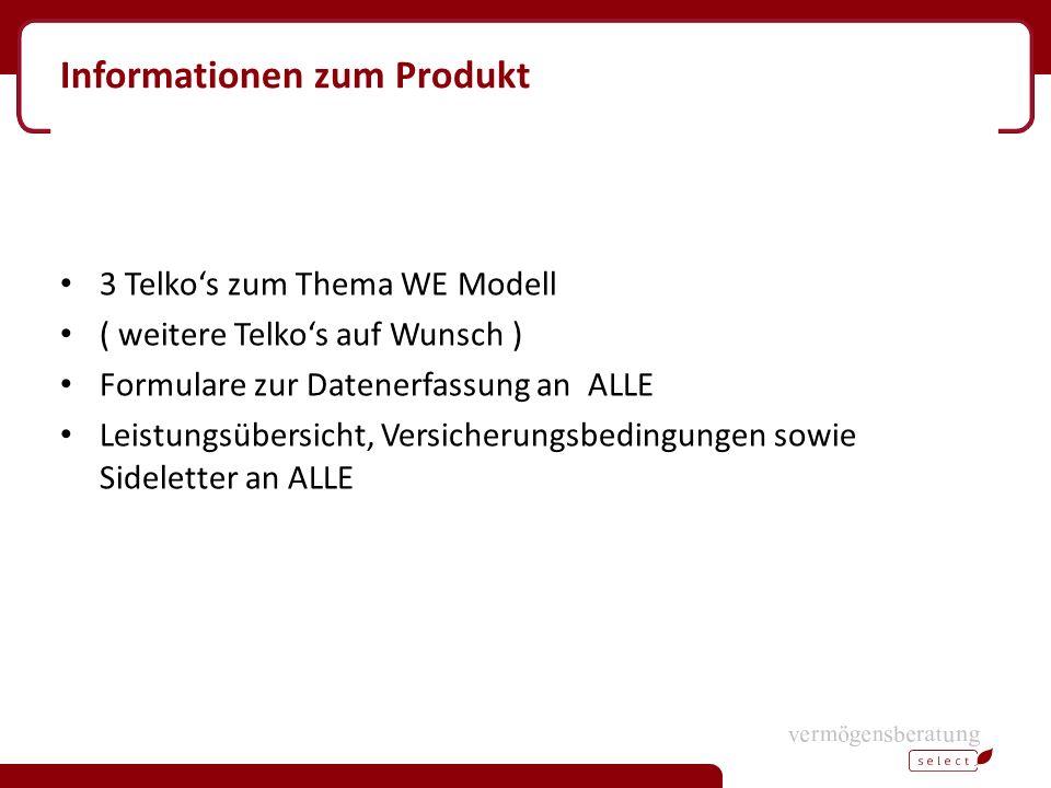 Informationen zum Produkt 3 Telko's zum Thema WE Modell ( weitere Telko's auf Wunsch ) Formulare zur Datenerfassung an ALLE Leistungsübersicht, Versicherungsbedingungen sowie Sideletter an ALLE