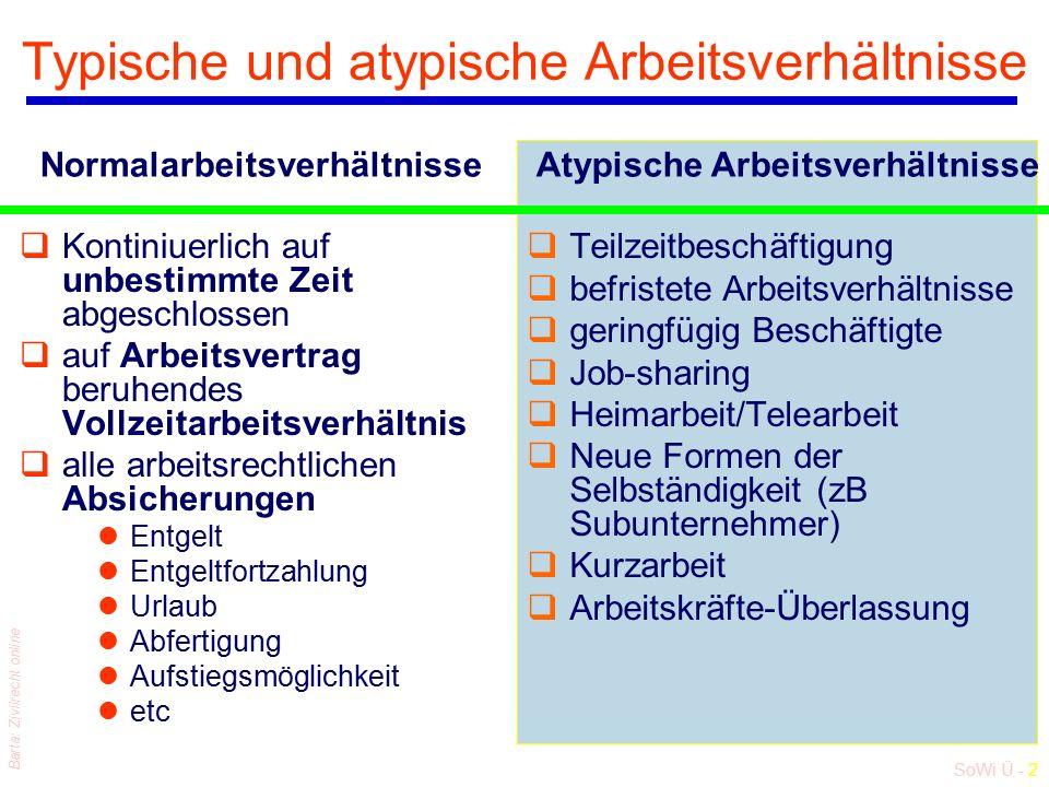 SoWi Ü - 2 Barta: Zivilrecht online Typische und atypische Arbeitsverhältnisse qKontiniuerlich auf unbestimmte Zeit abgeschlossen qauf Arbeitsvertrag