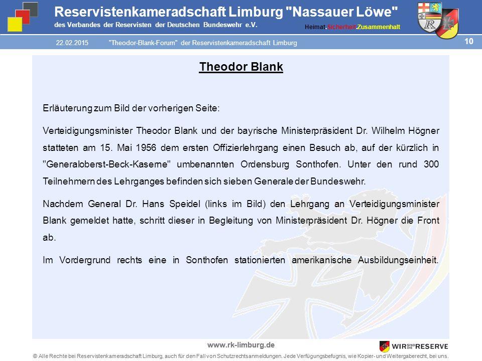 10 © Alle Rechte bei Reservistenkameradschaft Limburg, auch für den Fall von Schutzrechtsanmeldungen.