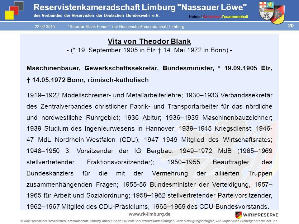 20 © Alle Rechte bei Reservistenkameradschaft Limburg, auch für den Fall von Schutzrechtsanmeldungen.