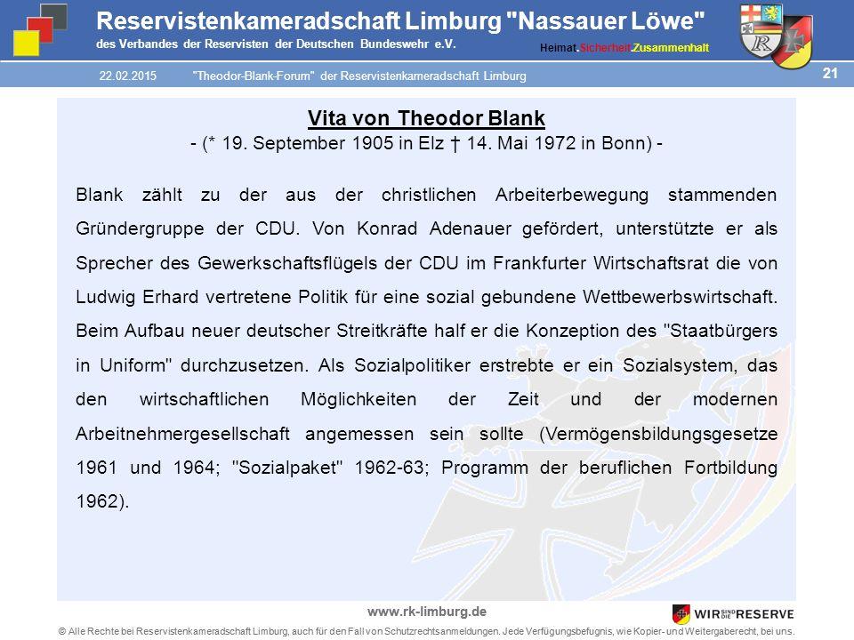 21 © Alle Rechte bei Reservistenkameradschaft Limburg, auch für den Fall von Schutzrechtsanmeldungen.