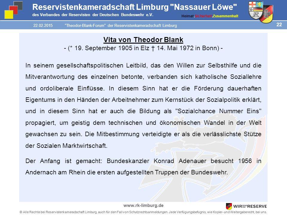 22 © Alle Rechte bei Reservistenkameradschaft Limburg, auch für den Fall von Schutzrechtsanmeldungen.