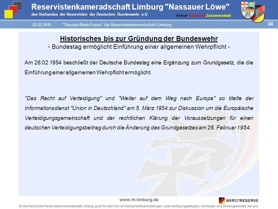 24 © Alle Rechte bei Reservistenkameradschaft Limburg, auch für den Fall von Schutzrechtsanmeldungen.