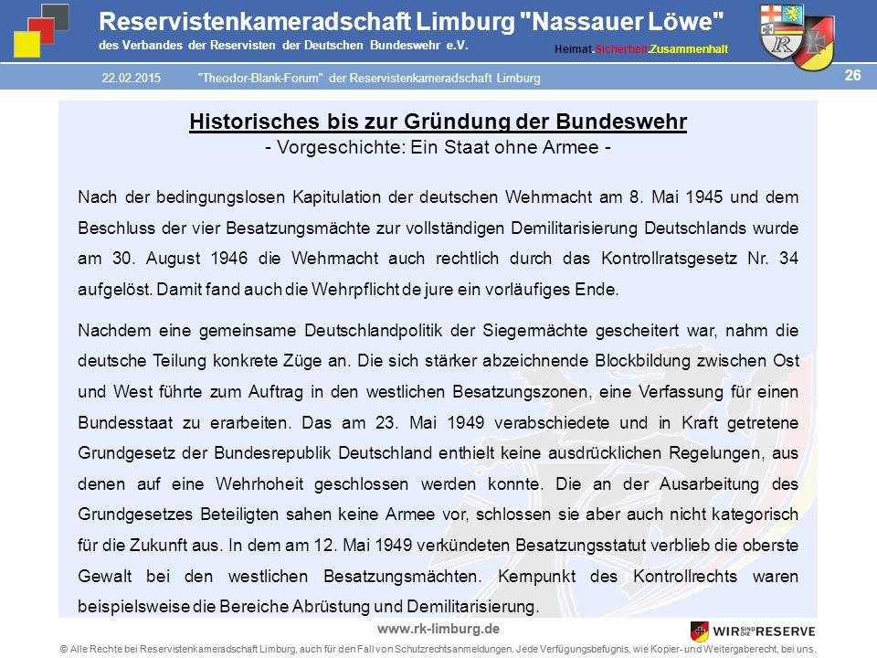 26 © Alle Rechte bei Reservistenkameradschaft Limburg, auch für den Fall von Schutzrechtsanmeldungen.