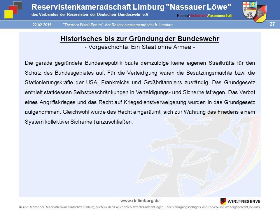 27 © Alle Rechte bei Reservistenkameradschaft Limburg, auch für den Fall von Schutzrechtsanmeldungen.