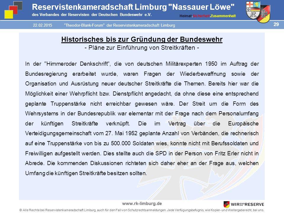 29 © Alle Rechte bei Reservistenkameradschaft Limburg, auch für den Fall von Schutzrechtsanmeldungen.